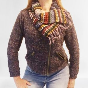 Anthro Curio Moto Tweed Sweater Jacket